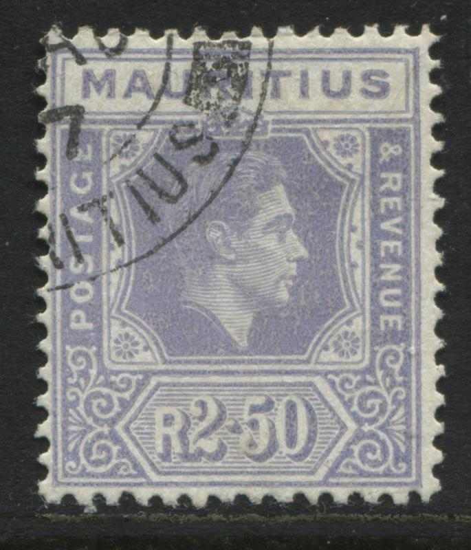 Mauritius 1938 KGVI  2 rupees 50 cents on chalky paper CDS used