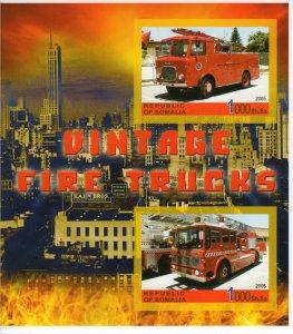 Somalia 2005 VINTAGE FIRE TRUCKS Souvenir Sheet IMPERFORATED  MNH