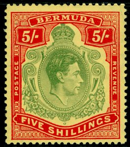 BERMUDA SG118f, 5s yellow-green & red/pale yellow, NH MINT. Cat £35. P.13