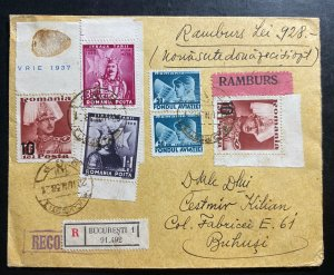 1938 Bucarest Romania Commercial Registered Cover To Buhusi