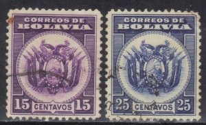 BOLIVIA SC# 216-17 **USED** 15c+25c 1933 SEE SCAN