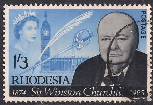 Rhodesia 1965 QE2 1/-3d Sir Winston Churchill Used SG 357 ( J949 )