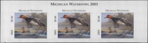 MICHIGAN #28T 2003 STATE DUCK STAMP TOP STRIP OF 3 REDHEAD  by Dietmar Krumrey