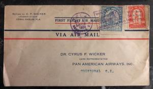 1929 Tela Honduras First Flight airmail cover FFC to Cristobal Canal Zone Panama