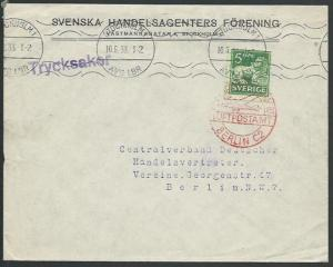 SWEDEN 1933 cover to Germany, Berlin airmail cds in red....................10580