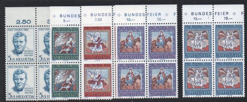 Switzerland Sc B355-9 1966 Paintings Pro Patria stamp set mint NH Blocks of 4