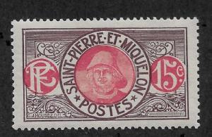 St Pierre & Miquelon 1917,15c,Scott # 86a,VF MLH*OG (P-5)