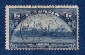 Canada Sc 202 Postal Union Closed Up Tear Upper R Used F-VF