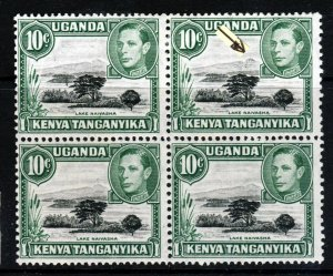 KENYA UGANDA & TANGANYIKA KG VI 1949 10c. BLOCK RETOUCHED MOUNTAIN SG 135a MINT