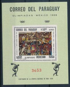 [63000] Paraguay 1967 Olympic Games Mexico - Art Souvenir Sheet MNH