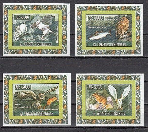 St. Thomas, Mi cat. 2972-2975. Owls issue on 4 Small s/sheets. Canceled. ^