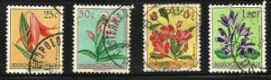 Belgian Congo 4 used flowers 1952-53