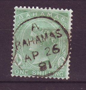 J24080 JLstamps 1863-81 bahamas used #19 queen wmk 1 perf 14 son dated