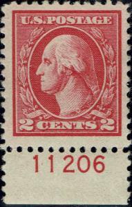 #527 BOTTOM PLATE #11206 1920 2 CENT TYPE V OFFSET ISSUE MINT-OG/VLH--VF