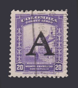 COLOMBIA AIRMAIL STAMP 1950. SCOTT # C189. USED