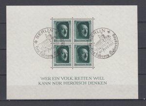 WWII Third Reich 1937 Block Michel 7 VFU Berlin Postmark