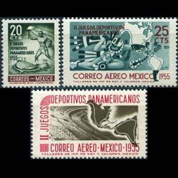 MEXICO 1955 - Scott# 890+C227-8 Pan Am.Games Set of 3 LH