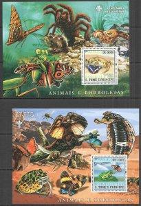 BC1373 2007 SAO TOME & PRINCIPE ANIMALS & BUTTERFLIES FAUNA SCOUTING 2BL MNH