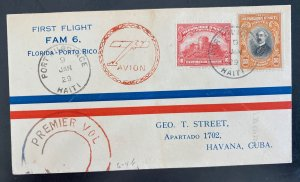 1930 Port Au Prince Haiti First Flight Airmail Cover To Spanish Antilles