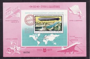 Hungary-Sc#C392-unused NH Airmail sheet-Airships-Zeppelin-Planes-1977-
