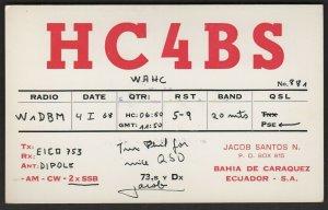 QSL CARD HC4BS,Jacob Santos N.68,,Bahia De Caraquez,Ecuador-S.A.(Q4515)