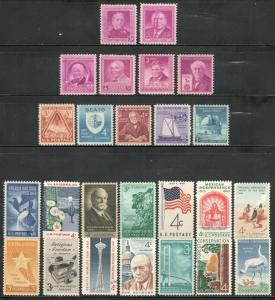 US Postage Stamps Vintage Collection Of 25 Stamps 60-70 Years Old ((V-24)