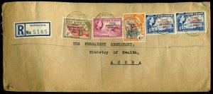 Gold Coast QEII 1957 Registered Koforidua 11½d Independence ov's