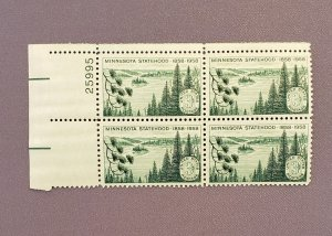 1106, Minnesota Statehood, Plate Block UL, Mint OGNH