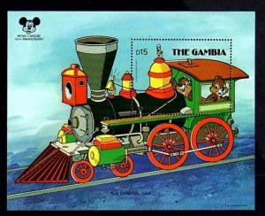 GAMBIA - 1987 - DISNEY - TRAIN - CHIP 'n DALE - MICKEY 60th - MINT MNH S/SHEET!