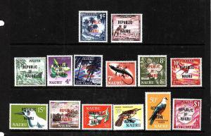 Nauru-Sc#72-85-Unused NH set-overprinted republic/Of/Nauru-1968-