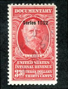 U.S. R606 used, $3.30, series 1952 F-VF paper wrinkle @ bottom