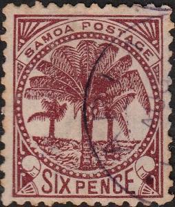 SAMOA - 1895 - SG62 6d brown lake - Very fine used