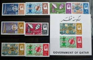 """VERY RARE QATAR 1965 CAT VALUE USD 275.00 """"IMERF"""" STAMPS + S/HEET MNH ITU CENTEN"""