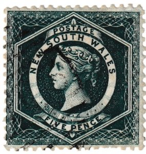 1885 5d Queen Victoria  NSW dark green stamp (NSW Crown Wmk 12 perfs)