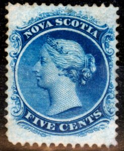Nova Scotia 1860 5c Blue SG12 Fine Mtd Mint