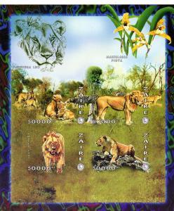 Zaire 1997 Lions Club Int -Orchids-Lions Shlt(4)IMPERF.MNH