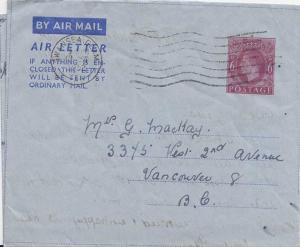 Great Britain 6d KGVI Air Letter 1952 Swansea, Glam. Airmail to Vancouver, B....