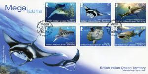 BIOT Br Indian Ocean Terr 2017 FDC Mega Fauna 6v Cover Sharks Fish Marlin Stamps