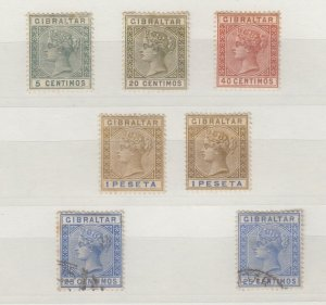 Gibraltar QV 1889 Collection Of 7 Values To 1 Peseta MH/FU J6727