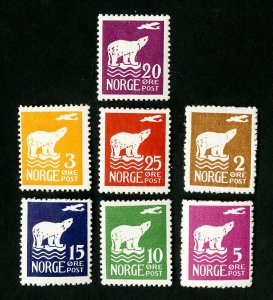 Norway Stamps # 104-110 VF OG NH Rare Catalog Value $180.00