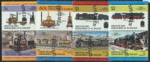 78416 - UNION Islands - STAMPS - TRAINS  1984 - 8  Values MNH - SPECIMEN
