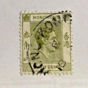 HONG KONG 161 Θ used, King portrait 30¢ postage stamp, nice cancel