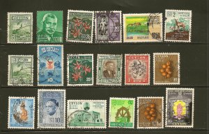 Ceylon Collection of 18 Different Stamps Used