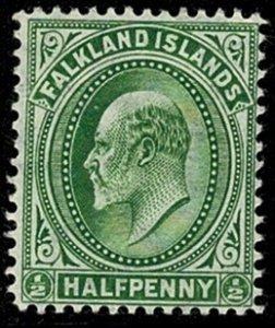 FALKLAND ISLANDS KE VII 1904-12 1/2d GREEN UNUSED (MH) SG43 Wmk.MC CA P14 VGC