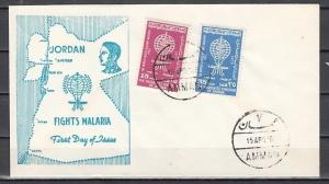 Jordan, Scott cat. 379-380. World Against Malaria issue. First day cover.