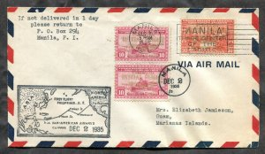 p180 - PHILIPPINES 1935 First Flight Cover to GUAM. Initial Flight Overprints