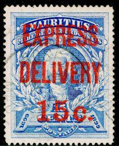MAURITIUS SG E1, 15c on 15c ultramarine, FINE USED. Cat £40.