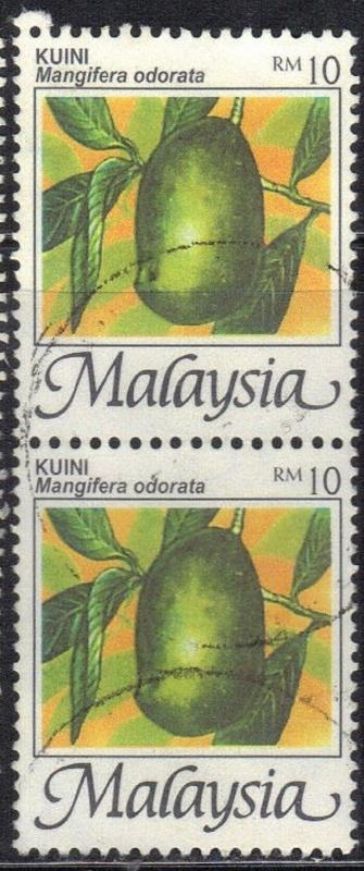 ROSS1374: MALAYSIA  SC# 335 **USED** $10 1986-2000  CONNECTED PAIR   FRUIT
