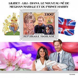 TOGO - 2021 - Lilibeth,  Harry and Meghan - Perf Souv Sheet - Mint Never Hinged