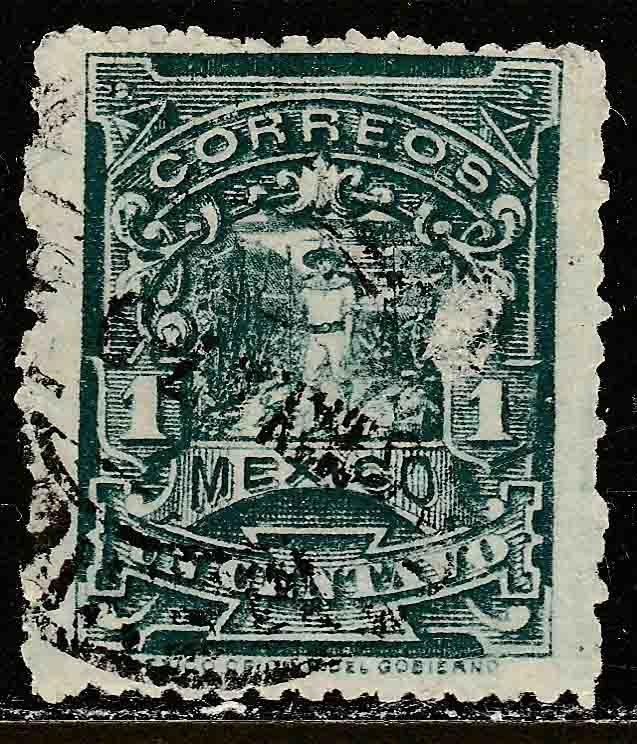 MEXICO 257, 1cent MULITA WMK RM INTERLACED. USED. F-VF. (155)